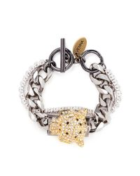 Venna | Metallic Crystal Jaguar Head Curb Chain Bracelet | Lyst