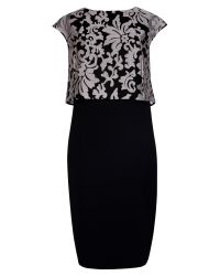 Ted Baker - Black Maxina Jacquard Double Layer Dress - Lyst