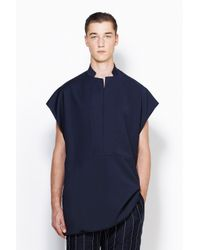 3.1 Phillip Lim - Blue Notched Collar Pullover for Men - Lyst
