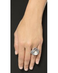 Oscar de la Renta - Metallic Crystal & Glass Pearl Ring - Crystal/silver - Lyst