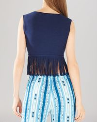 BCBGMAXAZRIA - Blue Jaleigh Fringe Crop Top - Lyst