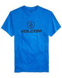 Volcom - Blue Wordmark Graphic-print Logo T-shirt for Men - Lyst