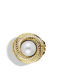 David Yurman - Metallic Pearl Crossover Ring with Diamonds - Lyst