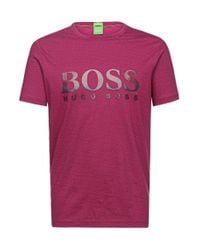 BOSS Green | Purple 'tee' | Cotton Patterned Logo T-shirt for Men | Lyst