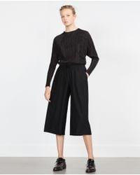 Zara   Black Culotte-style Bermudas   Lyst