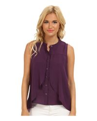 BCBGeneration - Purple Front Overlay Shirt - Lyst