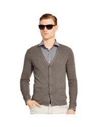 Ralph Lauren Black Label   Gray Ribbed Wool V-neck Cardigan for Men   Lyst