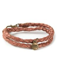 DIESEL | Brown Double Braided Bracelet | Lyst