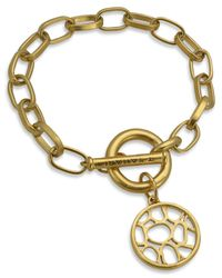 T Tahari | Metallic 14k Gold Plated Openwork Charm Link Bracelet | Lyst