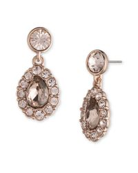 Givenchy | Pink Crystal Accent Pear-shaped Drop Earrings | Lyst