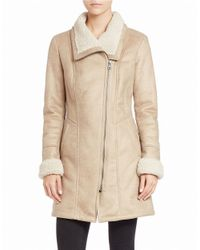 7 For All Mankind | Natural Faux Shearling-trimmed Faux Suede Coat | Lyst