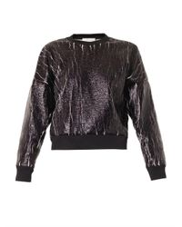3.1 Phillip Lim - Black Crackle-Coated Sweatshirt - Lyst