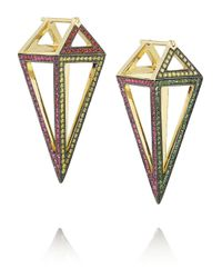 Noor Fares | Red Pendulum 18karat Gold Multistone Earrings | Lyst