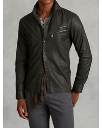 John Varvatos | Green Resin Coated Cotton Shirt for Men | Lyst