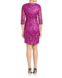 Sue Wong | Purple Sequined V-neck Sheath Dress | Lyst