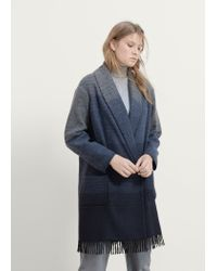 Violeta by Mango - Blue Fringe Wool-blend Coat - Lyst