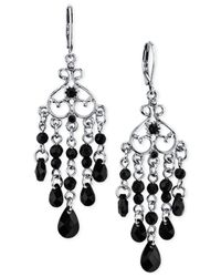 2028 | Silver-tone Black Bead Chandelier Earrings | Lyst