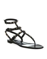 Valentino - Black Rockstud Gladiator Sandals - Lyst