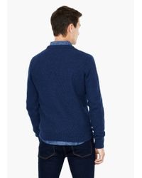Mango - Blue Textured Wool-blend Sweater for Men - Lyst