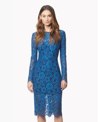 Veronica Beard | Blue Long-sleeve Floral Lace Pencil Dress | Lyst