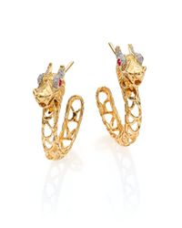 John Hardy | Metallic Naga Diamond, Ruby & 18k Yellow Gold Dragon Hoop Earrings/0.6 | Lyst