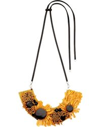 Marni - Yellow Floral-motif Horn Necklace - For Women - Lyst