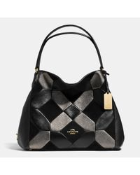 COACH - Black Edie Shoulder Bag 31 In Patchwork Leather - Lyst