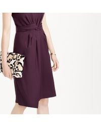 J.Crew - Purple Knotted Sheath Dress In Super 120s Wool - Lyst