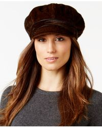 Nine West | Brown Faux Calf Hair Newsgirl Hat | Lyst