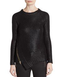 Saks Fifth Avenue - Black Foil Side-zip Sweater - Lyst