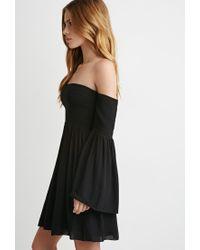 Forever 21 | Black Smocked Off-the-shoulder Dress | Lyst