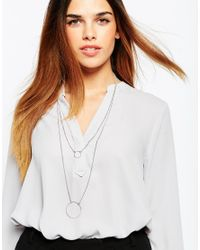 Pieces | Metallic Riva Long Circle Multirow Necklace | Lyst
