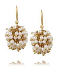 Rosantica - White Pom Pom Gold-Tone Pearl Earrings - Lyst
