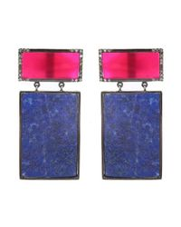 Adornia | Blue Pink Chalcedony And Lapis Rothko Earrings | Lyst