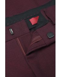 HUGO - Red Regular Fit Trousers In A Stretchy Cotton Blend: 'herlion' for Men - Lyst