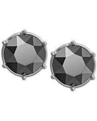 Swarovski | Black Rhodium-plated Jet Hematite Crystal Stud Earrings | Lyst