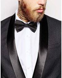 ASOS - Black Bow Tie With Gold Stud for Men - Lyst