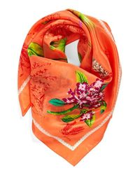 Echo - Orange 'Vintage Lily' Print Silk Square Scarf - Coral - Lyst