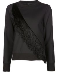 Tibi - Black Fringed Sweatshirt for Men - Lyst