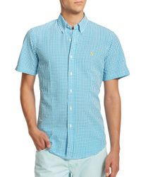 Polo Ralph Lauren - Blue Checked Seersucker Sportshirt for Men - Lyst