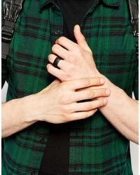 ASOS | Square Ring In Matte Black for Men | Lyst