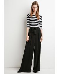Forever 21 - Black Belted Wide-leg Pants - Lyst
