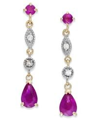 Macy's | Red Ruby (1-1/5 Ct. T.w.) And Diamond Accent Linear Earrings In 14k Gold | Lyst