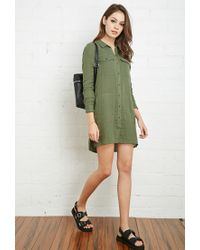 Forever 21 | Green Cotton Utility Shirt Dress | Lyst