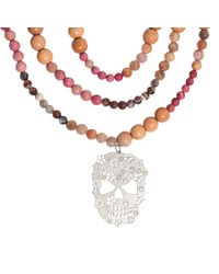 Rita & Zia - Orange Mandala Xxl Skull Necklace - Lyst