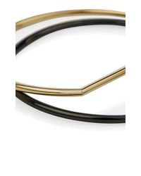 Karen Millen - Metallic Stirrup Double Bangle - Lyst