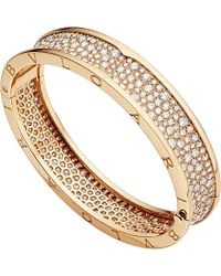 BVLGARI | Metallic B.Zero1 18Ct Pink-Gold And Diamond Bangle - For Women | Lyst