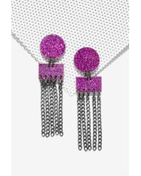 Nasty Gal | Purple I Still Love You Nyc Disco Waterfall Earrings | Lyst