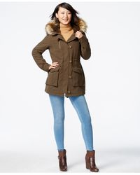 RACHEL Rachel Roy | Green Faux-fur-trim Button-front Anorak | Lyst
