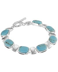 Lauren by Ralph Lauren | Blue Hinged Metal Cuff With Oval Turquoise Cab | Lyst